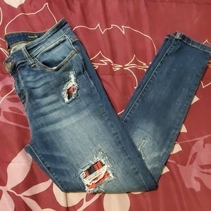 EUC Judy Blue Buffalo Plaid Jeans Size 15